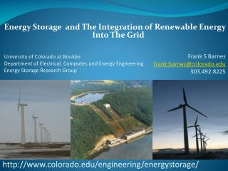 Energy Storage  and The Integration of Renewable Energy Into The Grid