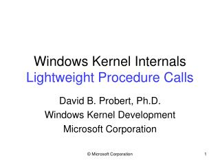 Windows Kernel Internals Lightweight Procedure Calls