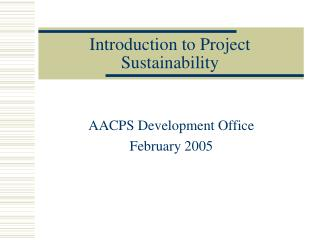 Introduction to Project Sustainability