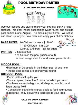 POOL BIRTHDAY PARTIES AT PAXTON SPORTS CENTRE