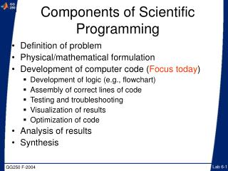 Components of Scientific Programming