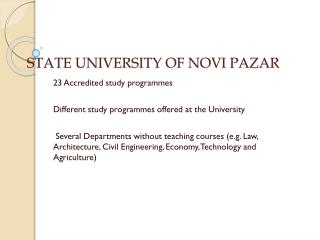STATE UNIVERSITY OF NOVI PAZAR