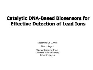 Catalytic DNA-Based Biosensors for Effective Detection of Lead Ions