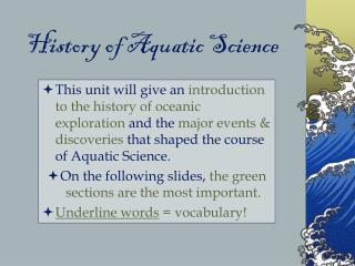 History of Aquatic Science