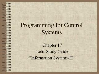 Programming for Control Systems