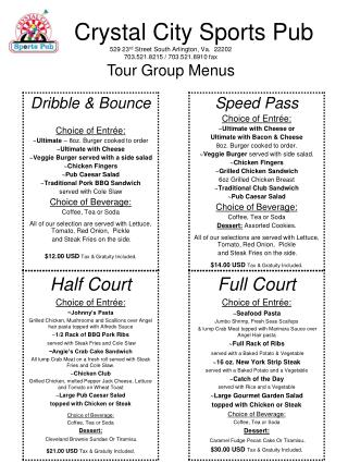 Tour menu (adult)