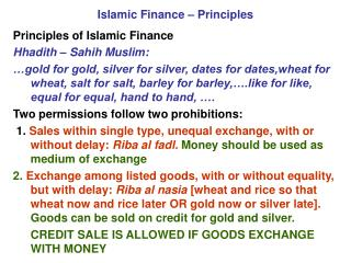 Islamic Finance – Principles