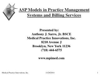 ASP Models in Practice Management Systems and Billing Services