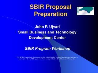 SBIR Proposal  Preparation