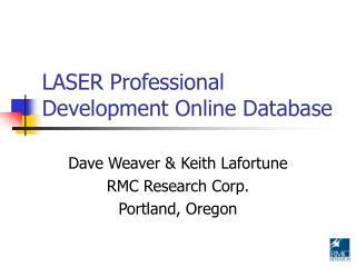 LASER Professional Development Online Database