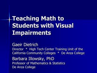Teaching Math to Students with Visual Impairments