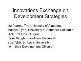 Innovations Exchange on Development Strategies