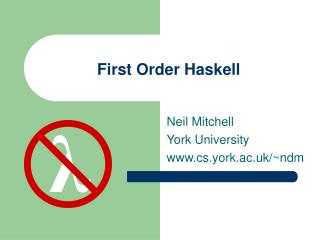 First Order Haskell