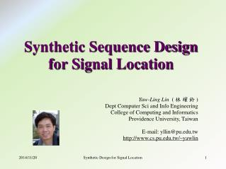 Synthetic Sequence Design for Signal Location