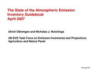 The State of the Atmospheric Emission Inventory Guidebook April 2007