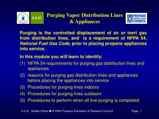 Purging Vapor Distribution Lines  Appliances