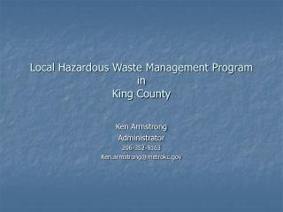 Local Hazardous Waste Management Program in  King County