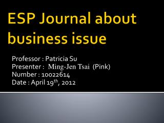 ESP Journal about business issue