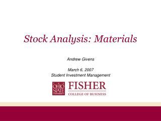 Stock Analysis: Materials