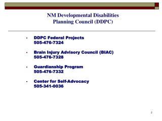 NM  Developmental Disabilities P lanning Council (DDPC)