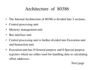 Architecture  of  80386