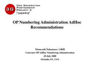 OP Numbering Administration AdHoc Recommendations