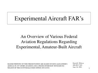 Experimental Aircraft FAR's