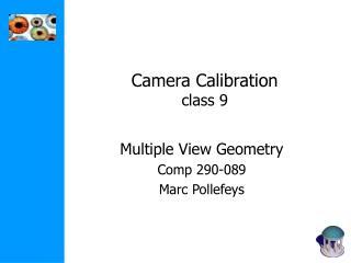 Camera Calibration class 9