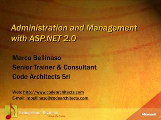 Administration and Management with ASP.NET 2.0