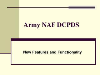 Army NAF DCPDS