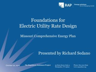Foundations for  Electric Utility Rate Design