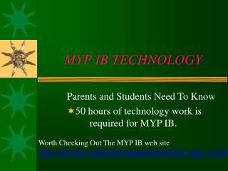 MYP IB TECHNOLOGY