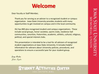 Dear Faculty or Staff Member,