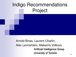 Indigo Recommendations Project
