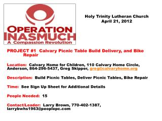 Holy Trinity Lutheran Church April 21, 2012