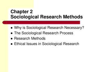 Chapter 2 Sociological Research Methods