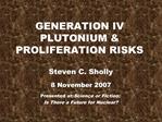 GENERATION IV PLUTONIUM  PROLIFERATION RISKS