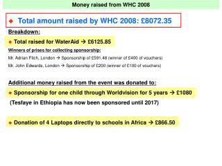 Money raised from WHC 2008