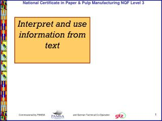 Interpret and use information from text