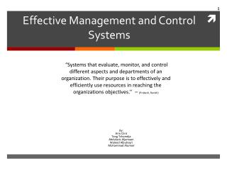 Effective Management and Control Systems