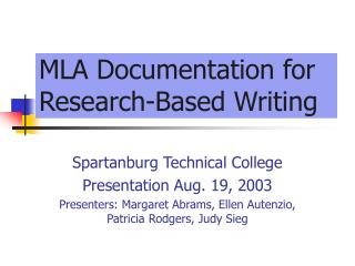 MLA Documentation for Research-Based Writing