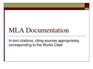 MLA Documentation