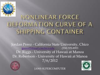 Nonlinear Force deformation curve of a shipping container