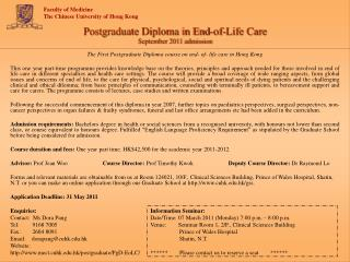 Postgraduate Diploma in End-of-Life Care September 2011 admission
