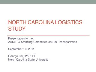 North Carolina logistics study