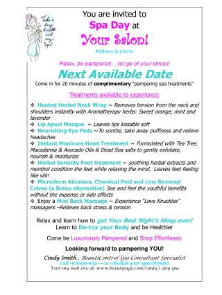 You are invited to Spa Day  at Your Salon! Address & phone
