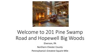 Welcome to 201 Pine Swamp Road and Hopewell Big Woods