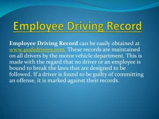 Employee Driving Record