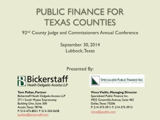 PUBLIC FINANCE FOR TEXAS COUNTIES