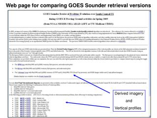 Web page for comparing GOES Sounder retrieval versions